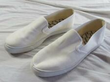 Vtg Nos 70s Usa Made Trax White Canvas Slip On Shoes Tennis Sz 11 Boat Deck 80s