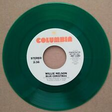"""Willie Nelson """"Blue Christmas"""" and """"White Christmas"""" green vinyl DJ never played"""