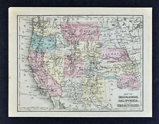 1876 Mitchell Map US West California Colorado Indian Territory Yellowstone Park