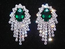 / Chandelier Silver Clip Earrings Green Emerald with Clear Rhinestone Bridal