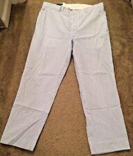 Men's POLO By RALPH LAUREN Seersucker Striped Blue White Preppy Golf Pants Sz 36