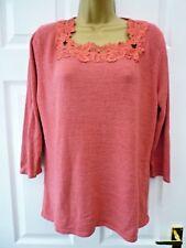 BM Ladies Size M 16 18 Light Red Floral Lace Neckline 3/4 Sleeve Tunic Jumper