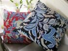 Paisley Cushion Cover: Cotton, Hand Made Embroidered Stitch Vintage Floral Throw