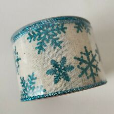 """Wire Edged Ribbon Glitter Snowflake Teal/Natural 2.5"""" w, 30 ft"""
