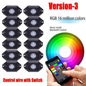 12PCS RGB LED Multi-Color Offroad Rock Lights Strobe Wireless Bluetooth Trucks