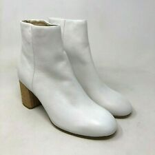 Rag & Bone Drea White Leather Ankle Block Heel Boot size: US 6.5 EU 36.5