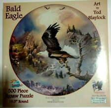New 500 Piece Round Bald Eagle Art by Ted Blaylock SunsOut, Inc Jigsaw Puzzle