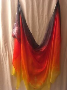 SALE!  Belly dance costume  veil silk hand-dyed:  fire colors!