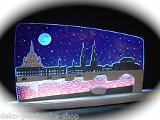 3d LED Arco de luces vidrio acrílico CON MADERA Dresde noche 47 x 22cm 10655
