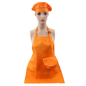 Kids Painting Apron Set with Hat Pocket Kitchen Chef Cooking Art Custome FM