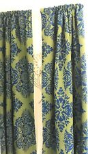 Pair Vintage Mid Century Mod Curtains Drapes Damask Boho Hippie 1960's Retro