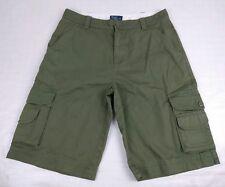 "Polo Ralph Lauren Boys Vacation Cargo Shorts Sz 18 32""W Flat Front Green"