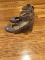 stuart weitzman womens  Leather Pumps Square Toe Block Heel Leather Sole