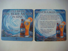 2 Beer Coasters ~*~ 2007 BLUE MOON Brewing Co ~ Celebrate in June ~ Golden, COLO