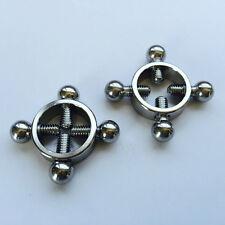 Pair of Stainless steel rings of steel nipple breast milk clip press bondage toy