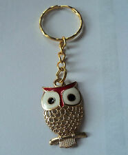 POPULAR OWL GOLD TONE AND RED ENAMEL  KEY RING,FREE POST IN OZ!
