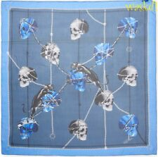 """ALEXANDER MCQUEEN blue PANTHER SKULL CHAINS silk chiffon 52"""" scarf NEW Auth $530"""