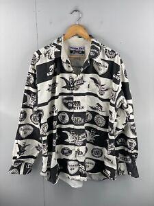 American Rebel Men's Vintage Long Sleeve Casual Logo Shirt Size L Black White