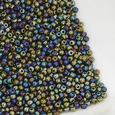 Vintage Czech Seed Beads Round 11/0 Metallic Blue Iris AB 20g 10644038