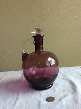 Vintage Cambridge (Amethyst) Large Bulb Bottom Decanter-Clear Glass Handle