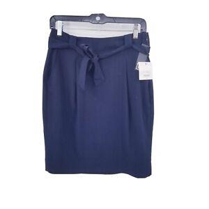 liz claiborne 6 blue sash belt pencil skirt womens short work career casual