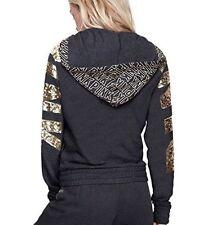 Vs Victorias Secret PINK Perfect Full-Zip Hoodie Sweater Jacket Top Grey Bling L