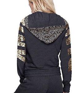 Vs Victorias Secret PINK Perfect Full-Zip Hoodie Sweater Jacket Top Bling XS