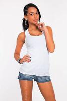 Sexy Women's Vest Top Classic Cotton Plain T-Shirt Sleeveless Size 8-12 FT318