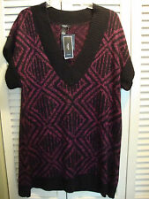 New Womens Alfani V Neck Pullover Sweater Black Iced Berry Size 1X