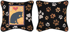 Kitty Talk ~ I Love My Cat ~ Cat Silhouette Tapestry Pillow
