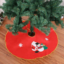 Christmas Ornaments Santa Claus Tree Skirt Base Floor Table Mat Cover Decor FW