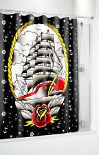 SOURPUSS CLIPPER SHIP FABRIC SHOWER CURTAIN & RINGS NAUTICAL TATTOO ROCKABILLY
