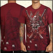 Rebel Spirit Samurai Rhinestone New Mens Short Sleeve T-Shirt Burgundy Red SMALL