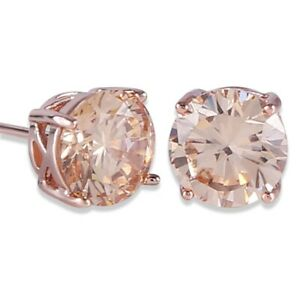 Fashion Champagne Round Zircon Rose Gold Stud Earrings Jewelry Women'S Gift
