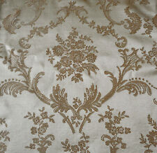 Vintage French Provincial Floral Cartouche Satin Damask Fabric ~ Champagne Fawn