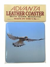 Flying Kestrel Bird of Prey Single Leather Photo Coaster Animal Breed G, AB-53SC
