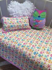2 pc Girls Nursery Bedding Cotton Baby Girls Owl Hoot Hoot Cot Quilt Cushion Set