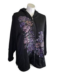 Susan Graver Weekend Hoodie Jacket 2X Plus Black Floral Zip Up Long Sleeve EUC