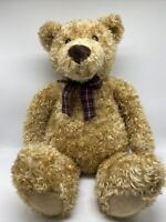 Jumbo Tan Plush Bear Stuffed Animal Target Gund Nursery Plaid Bow Curly 28 in