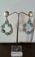 New Fashion Blue Flower Rhinestone Pearl Stud Drop Dangle Earrings