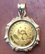 1988 Panda 1/20 oz Fine .999 Gold Bullion 5 Five Yuan COIN Pendant 14K Bezel