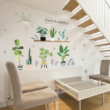 Creative Flower Pot Wall Sticker Cactus Window Home Room Stickers Art Decals