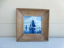 Gorgeous Vintage Framed Delft Hand Painted Holland Tile Sailboats and Windmills