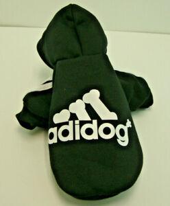 Pet Dog Clothes Soft Cotton Adidog Sweatshirt Sweater Hoodie Black Size Small