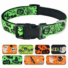 Pumpkin Halloween Dog Collar Adjustable Nylon Large Dogs Ghost Spider Collars XL