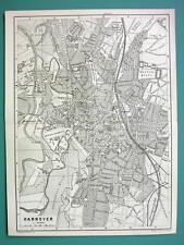 1884 MAP Baedeker - GERMANY Hannover & Hildesheim City Plan