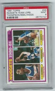 1981 Topps Nuggets Team Leaders D Issel #49 Graded PSA 9 set break pop 54 & 4 hi