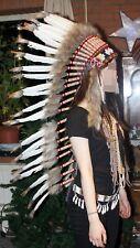 Indianer Federhaube XL Kopfschmuck WEISSE Federn ca. 110 cm. Fasching Warbonnet