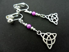 A PAIR OF TIBETAN SILVER PURPLE GLASS BEAD CELTIC KNOT CLIP ON EARRINGS. NEW.