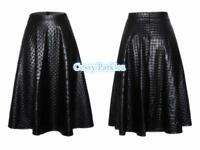 Ladies Black Mid-Long Pattern Faux Leather  A-Line MIDI SKIRT Casual Formal Wear